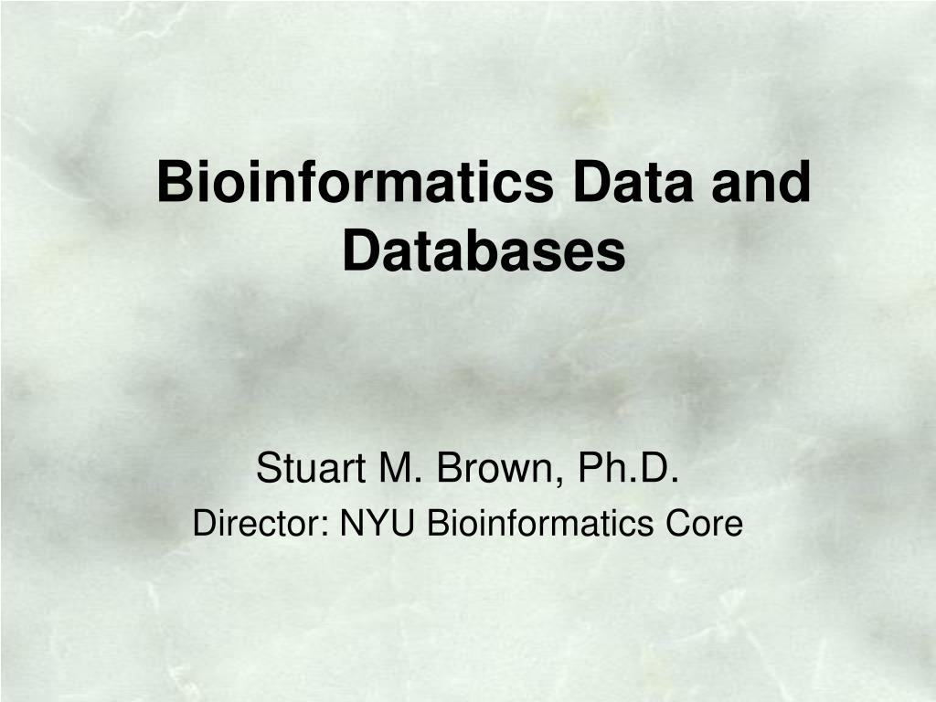 Bioinformatics Data and Databases