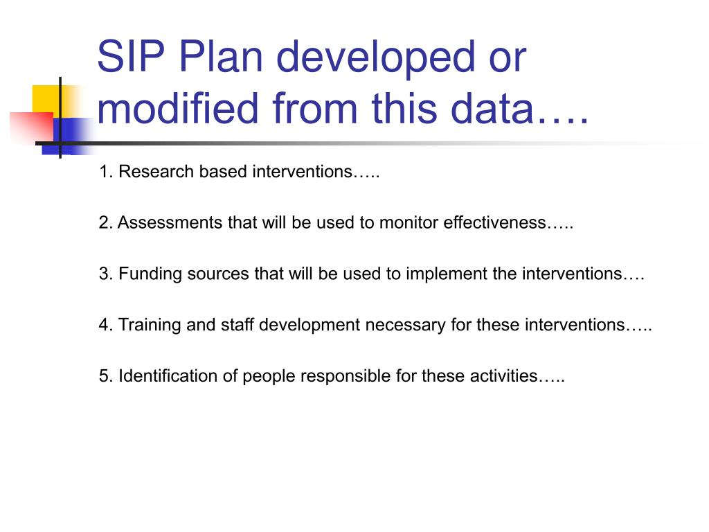 SIP Plan developed or modified from this data….