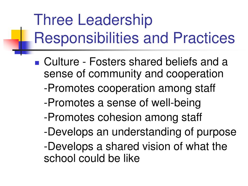 Three Leadership Responsibilities and Practices