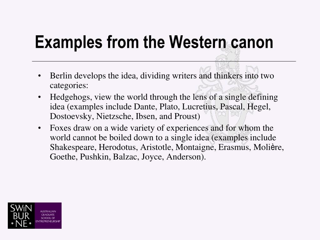 Examples from the Western canon
