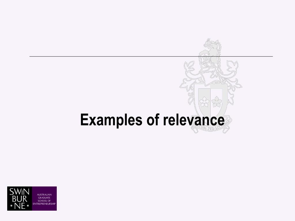 Examples of relevance