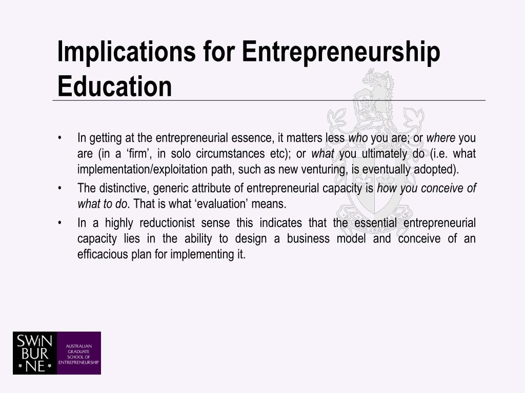 Implications for Entrepreneurship Education