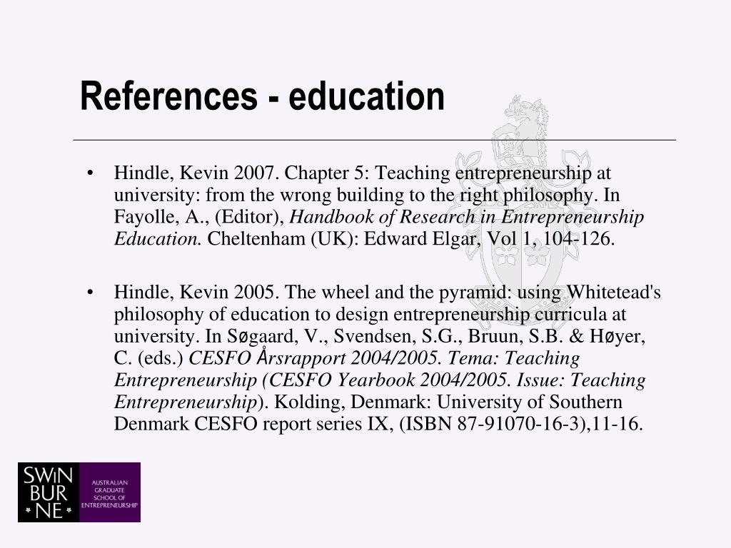 References - education