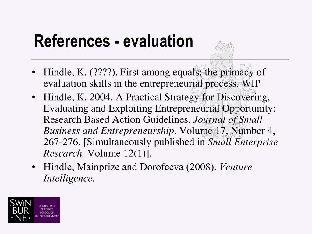 References - evaluation