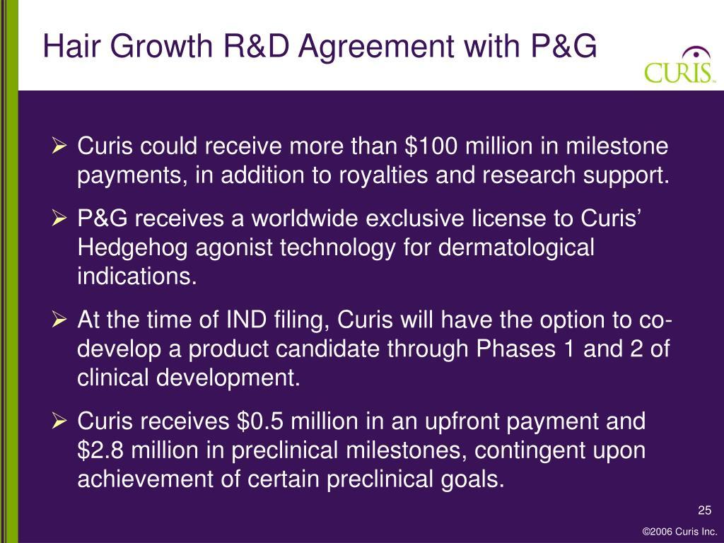 Hair Growth R&D Agreement with P&G