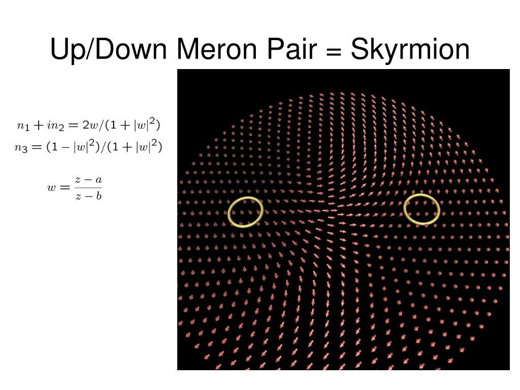 Up/Down Meron Pair = Skyrmion