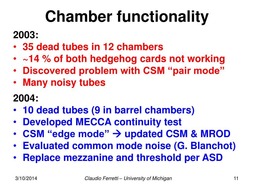 Chamber functionality