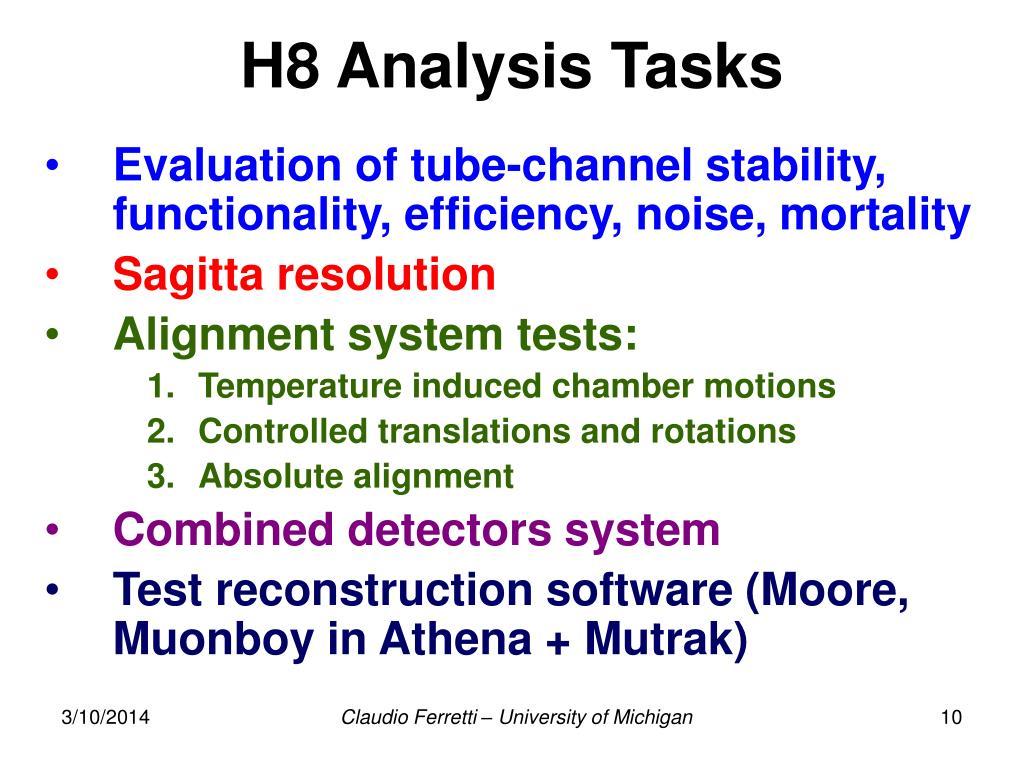 H8 Analysis Tasks