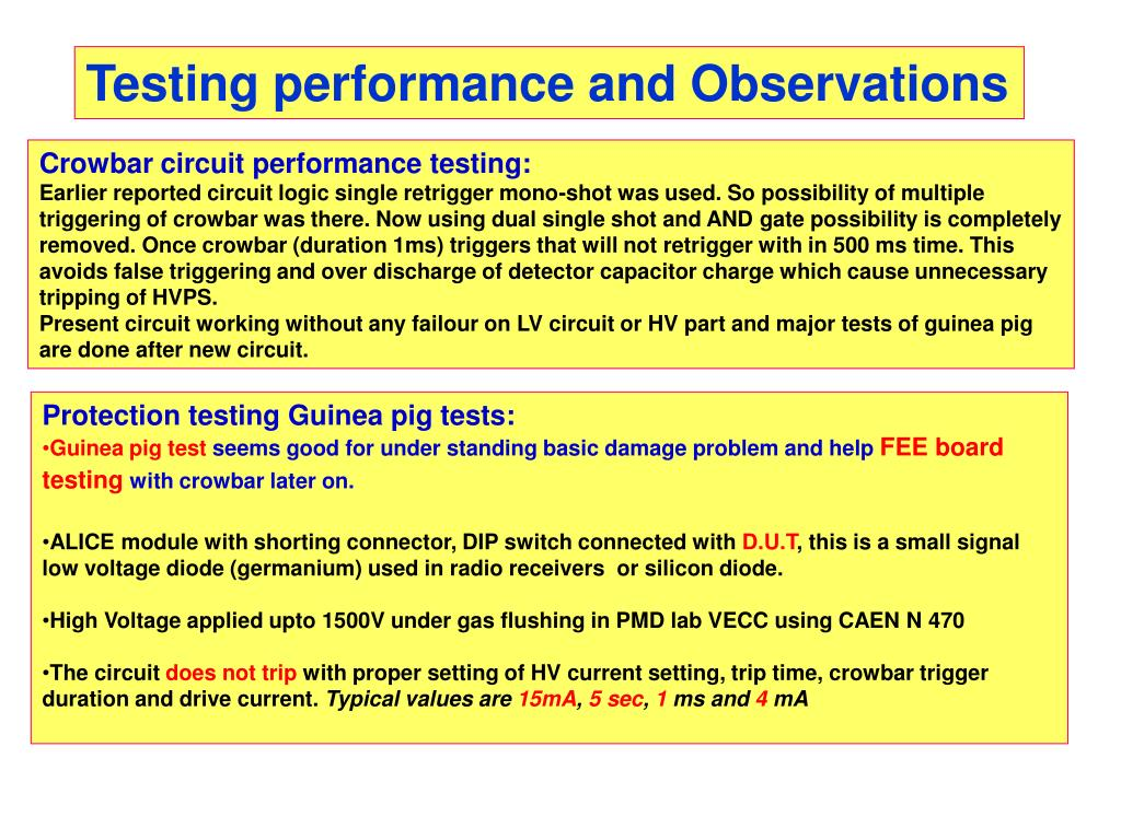 Testing performance and Observations