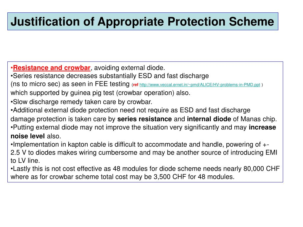 Justification of Appropriate Protection Scheme