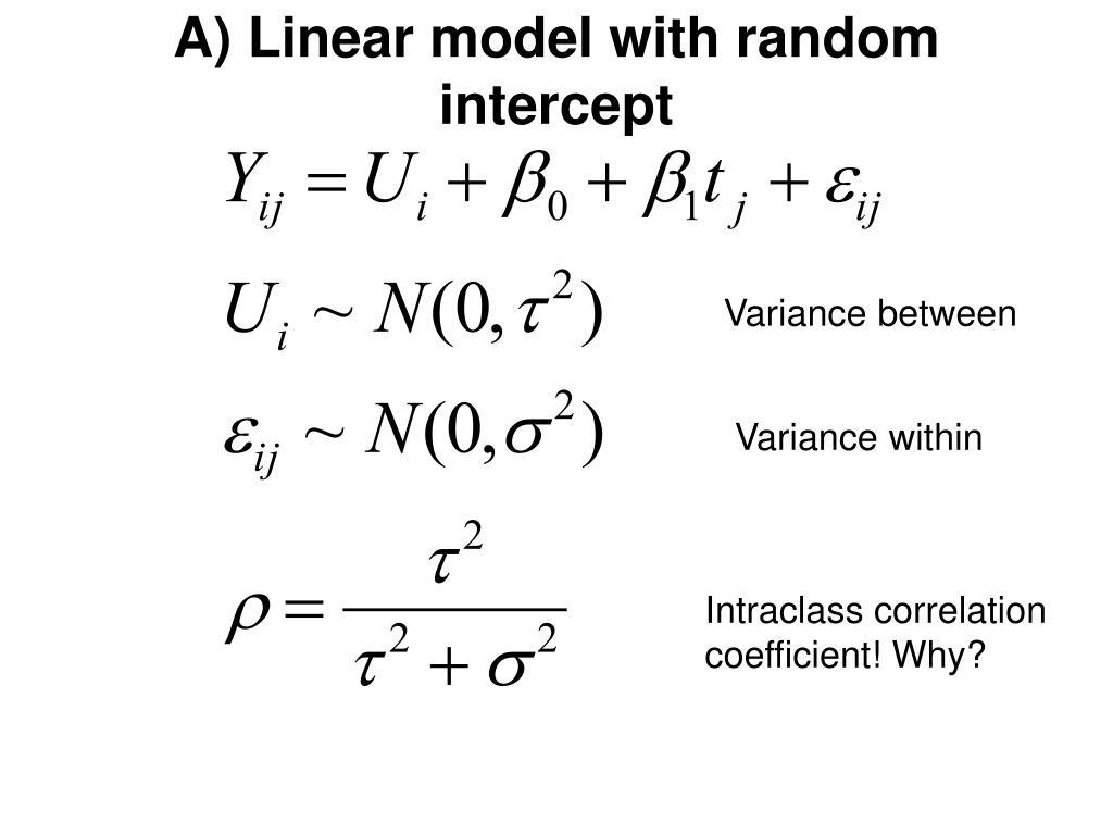 A) Linear model with random intercept