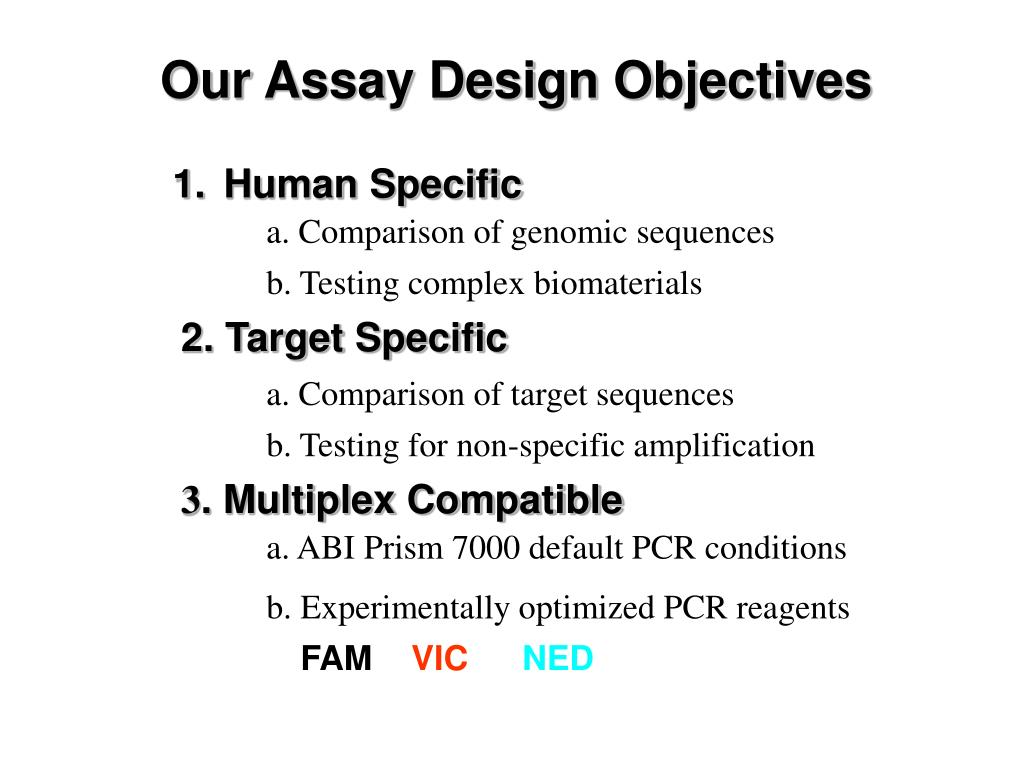 Our Assay Design Objectives