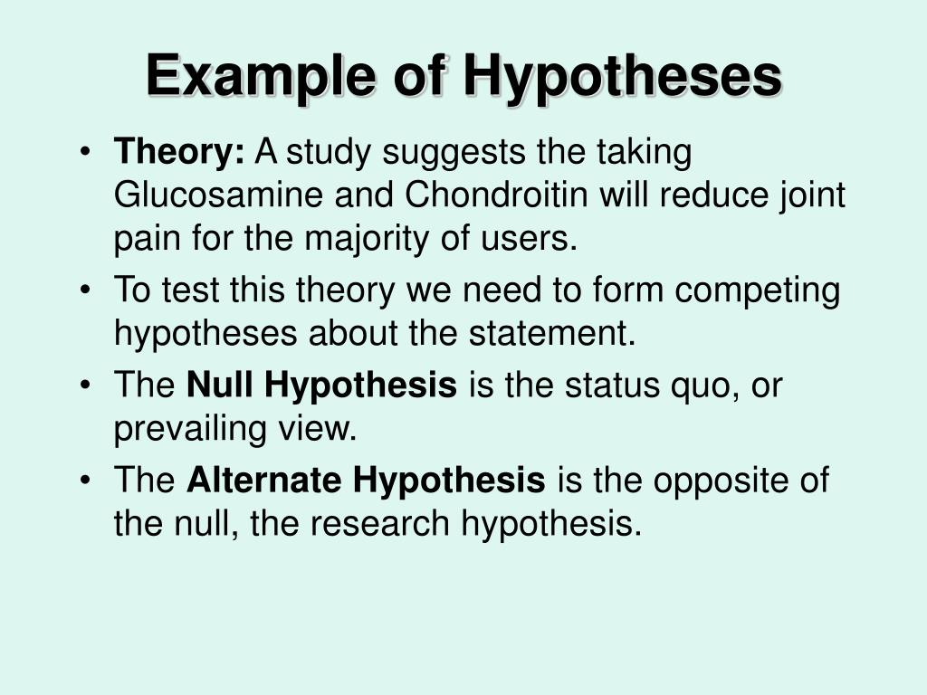 Example of Hypotheses
