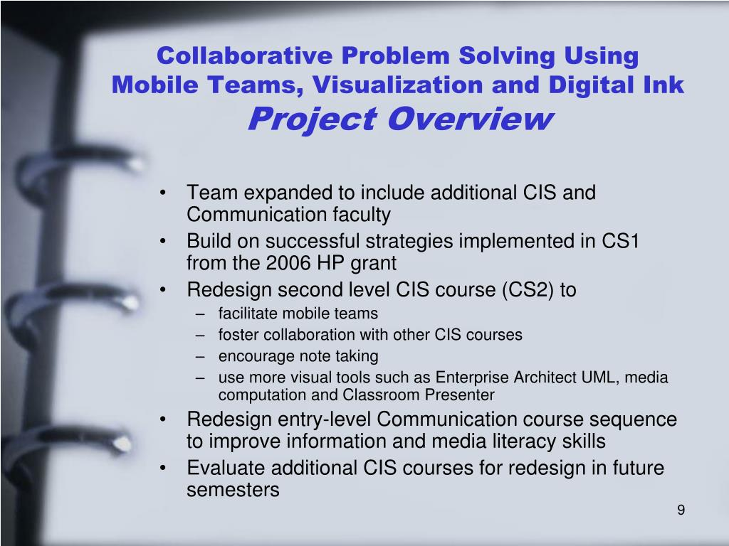 Collaborative Problem Solving Using Mobile Teams, Visualization and Digital Ink