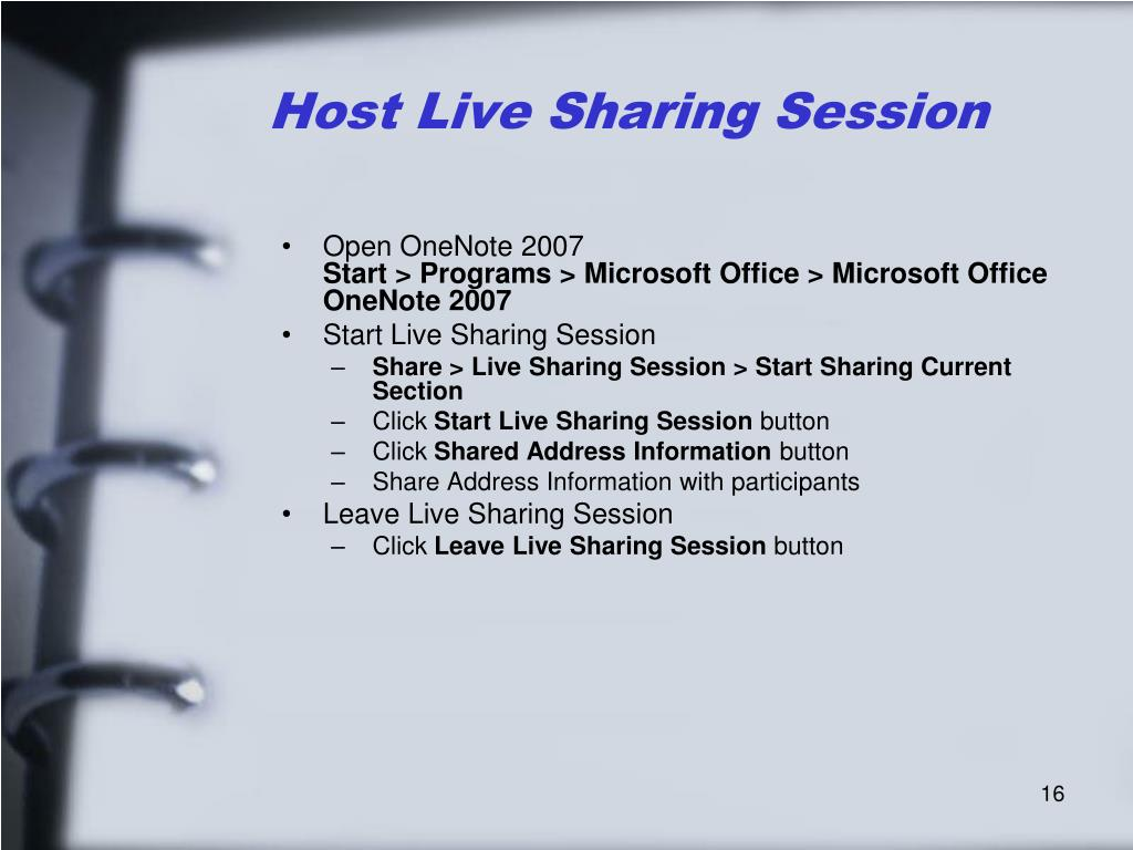 Host Live Sharing Session