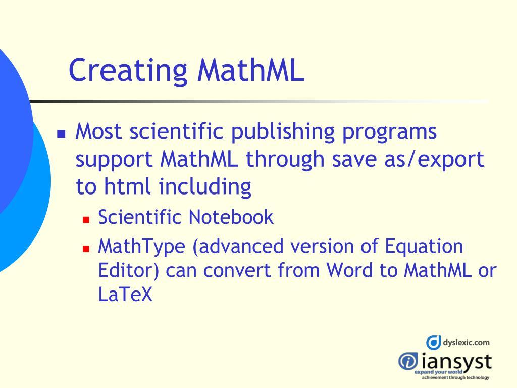 Creating MathML