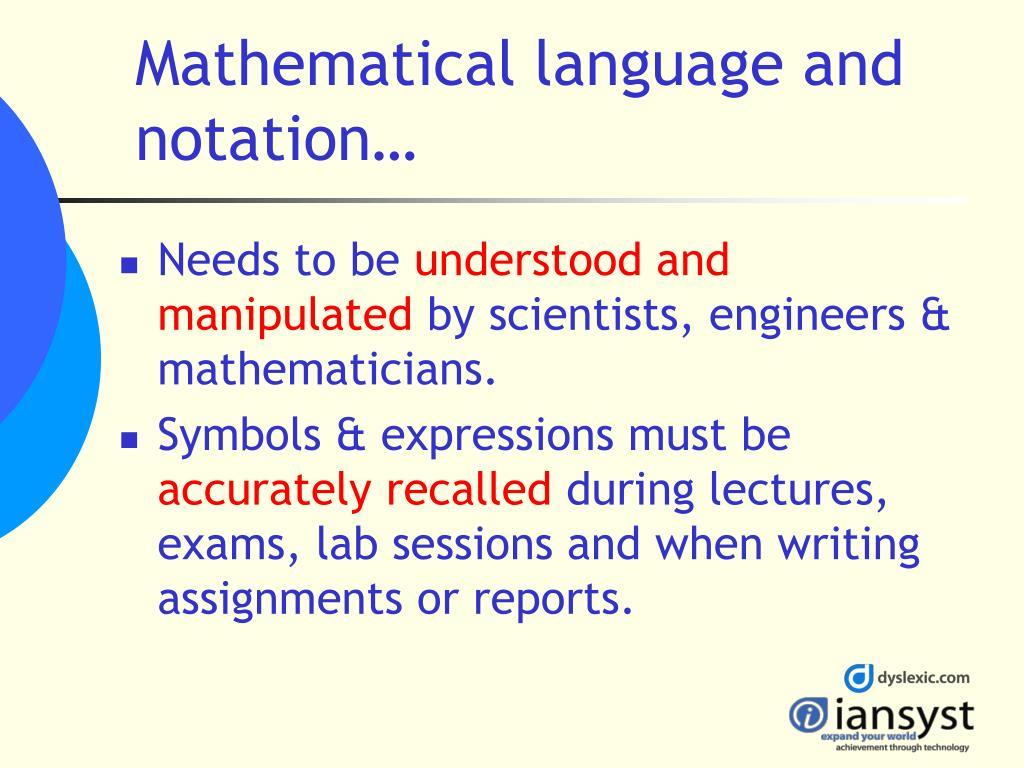 Mathematical language and notation…
