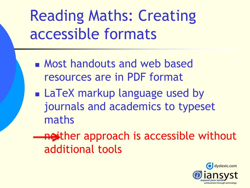 Reading Maths: Creating accessible formats
