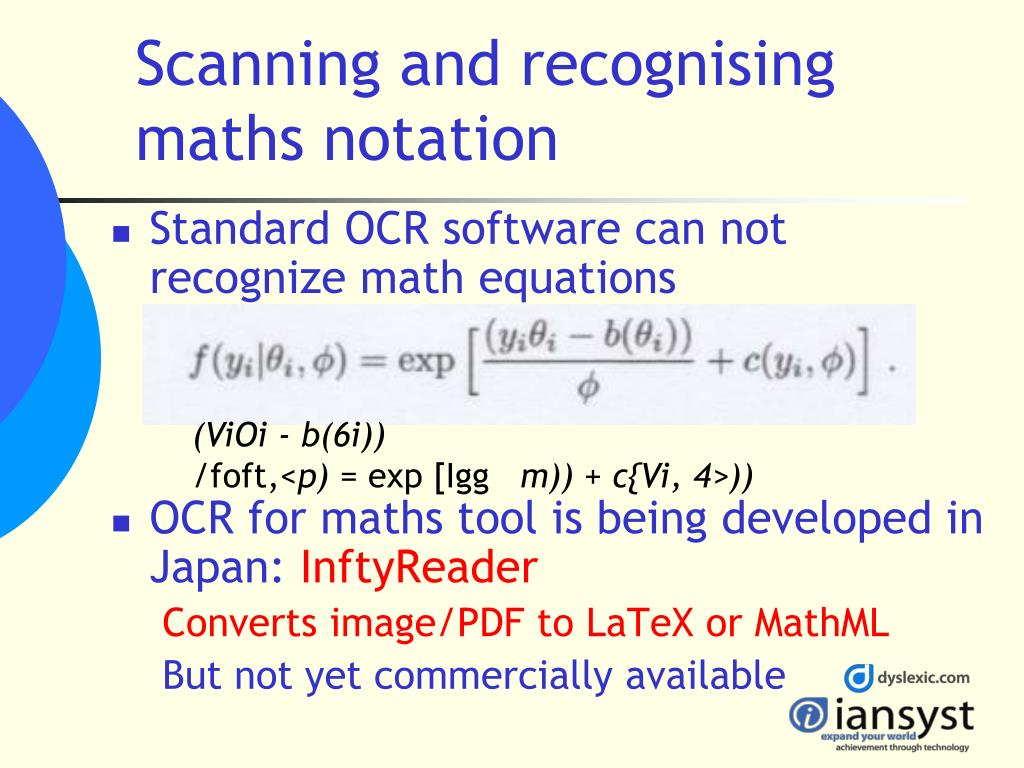 Scanning and recognising maths notation