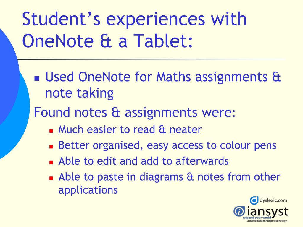 Student's experiences with OneNote & a Tablet: