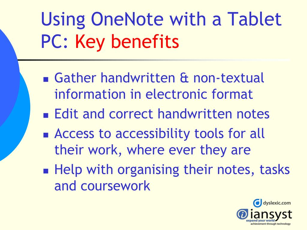 Using OneNote with a Tablet PC: