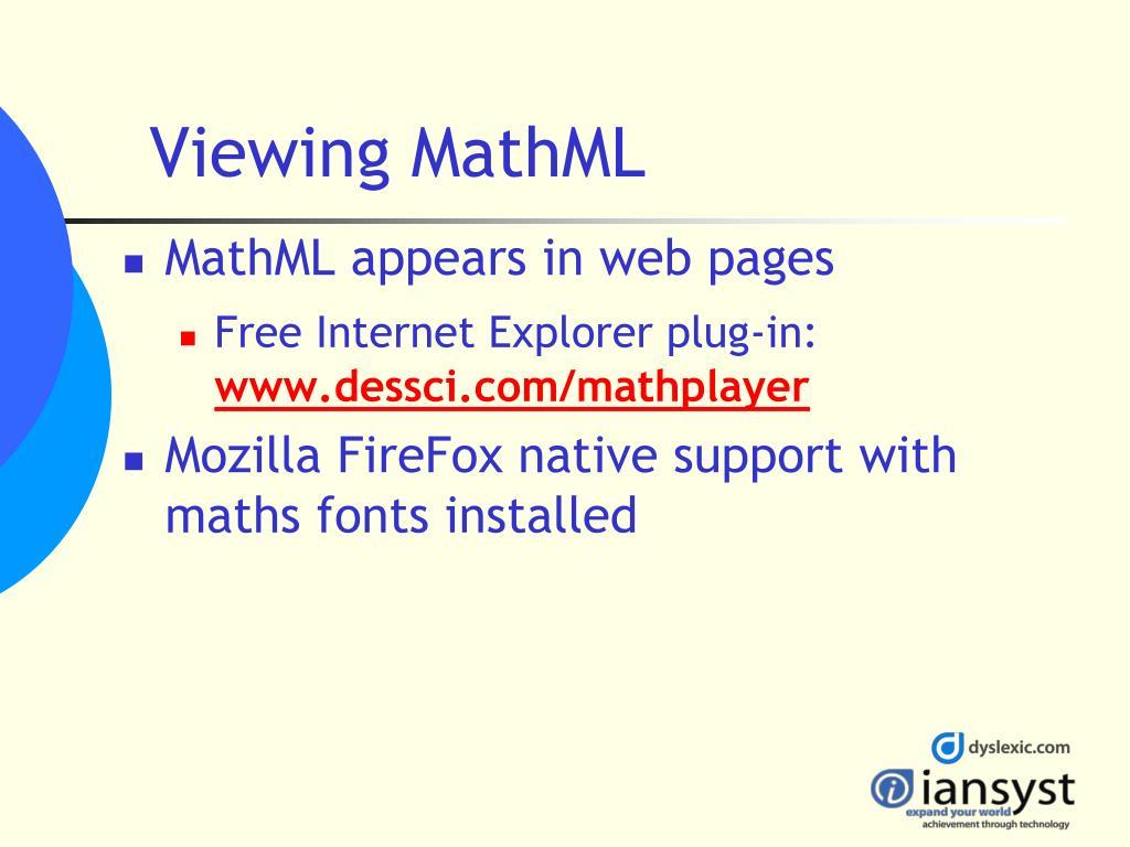 Viewing MathML