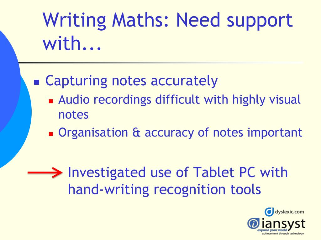 Writing Maths: Need support with...