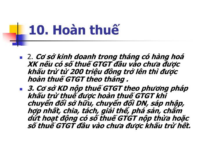 10. Hoàn thuế
