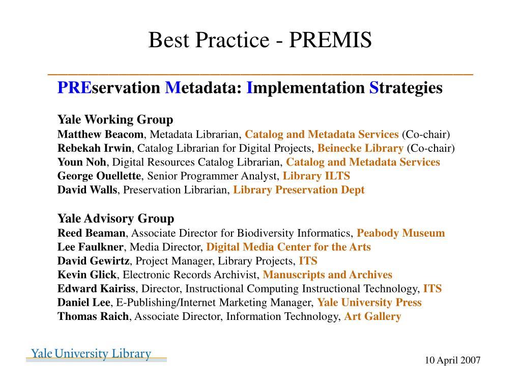 Best Practice - PREMIS
