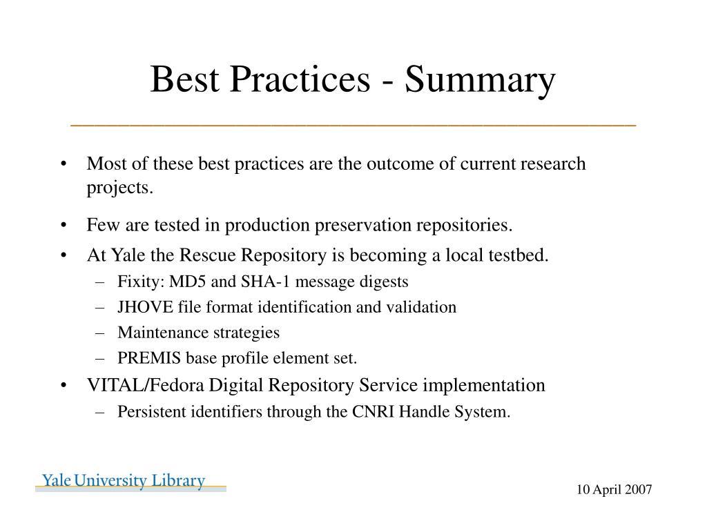 Best Practices - Summary