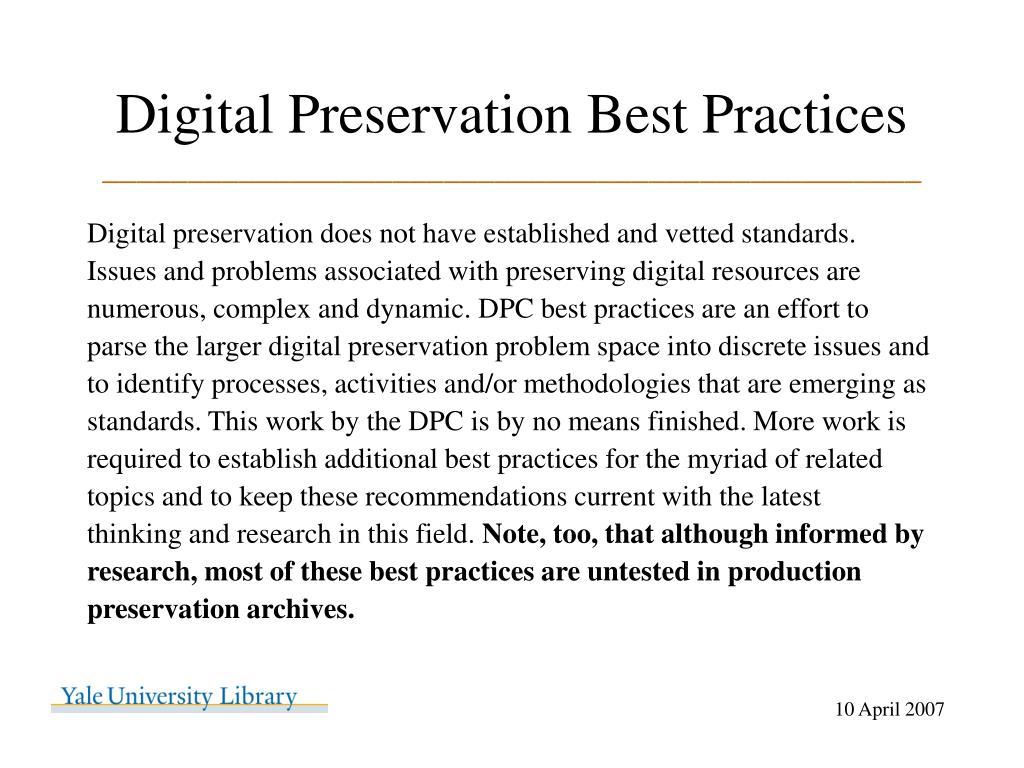 Digital Preservation Best Practices