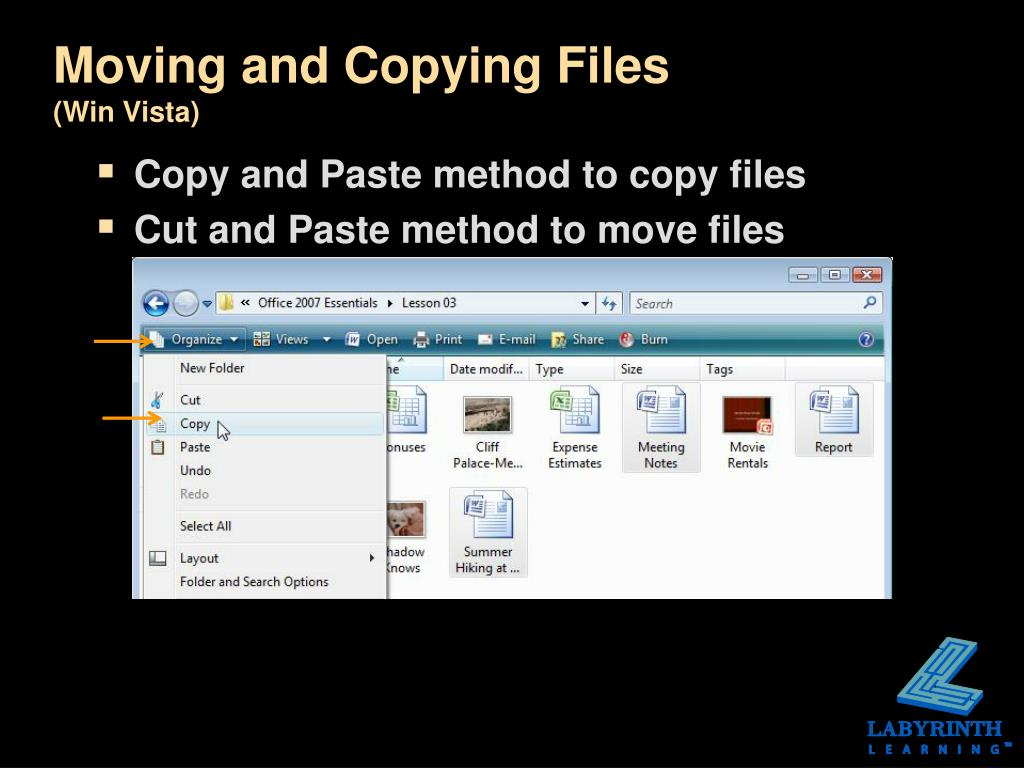 Moving and Copying Files