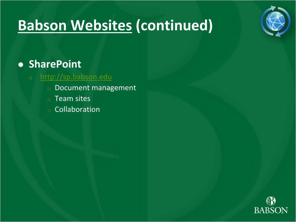 Babson Websites