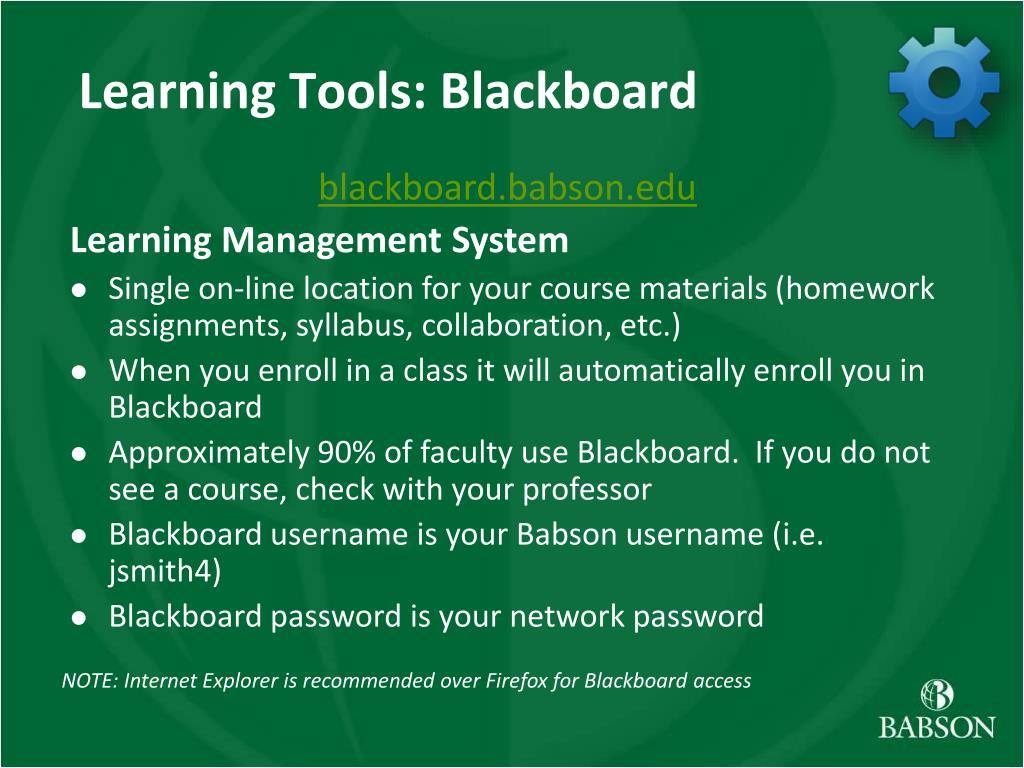 Learning Tools: Blackboard