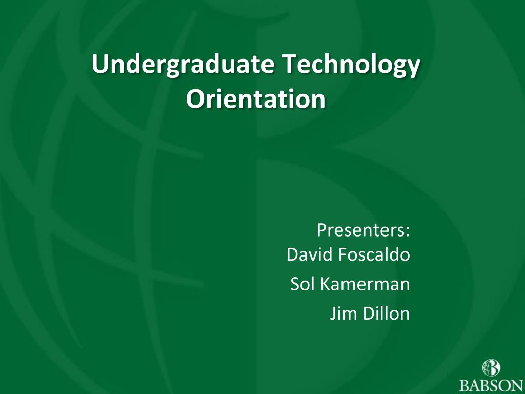 Undergraduate Technology Orientation