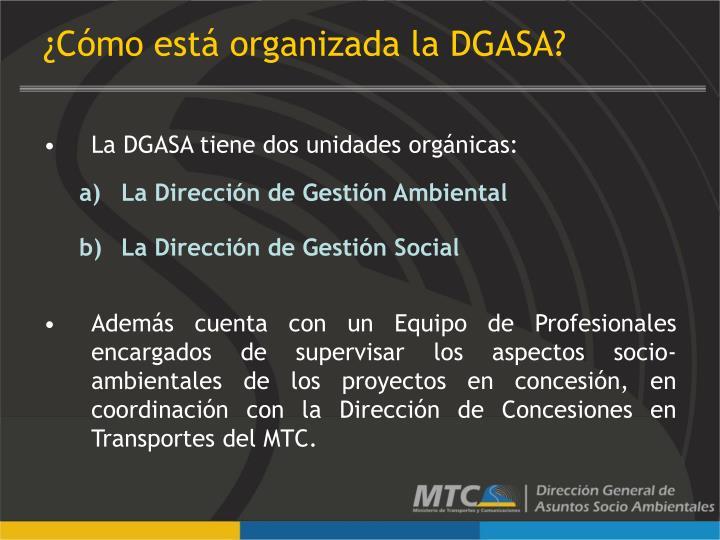 ¿Cómo está organizada la DGASA?