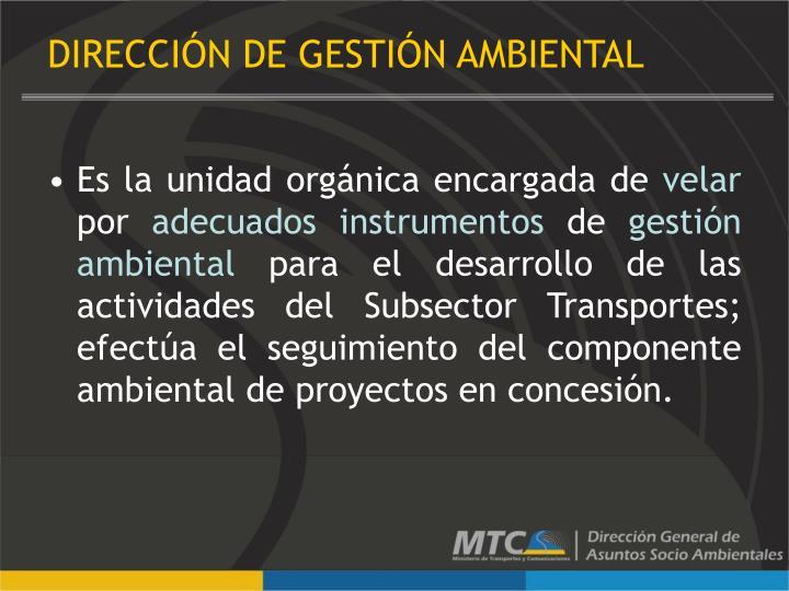DIRECCIÓN DE GESTIÓN AMBIENTAL