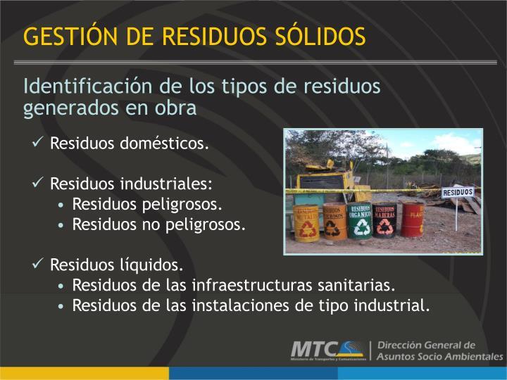 Identificación de los tipos de residuos generados en obra