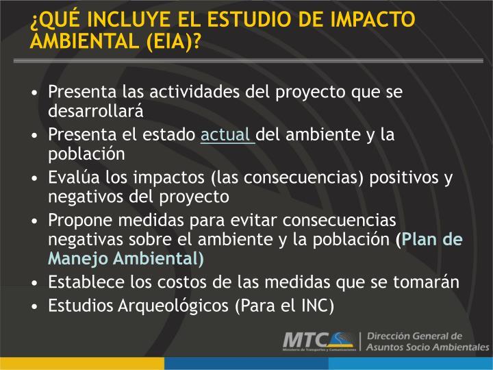 ¿QUÉ INCLUYE EL ESTUDIO DE IMPACTO AMBIENTAL (EIA)?