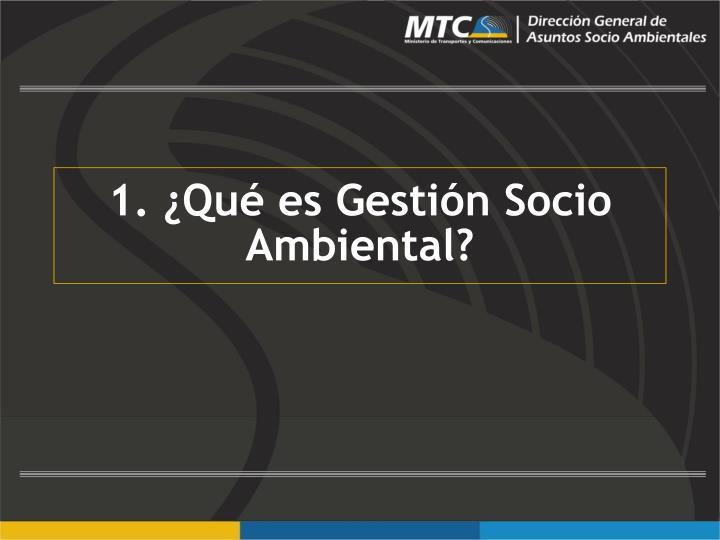 1. ¿Qué es Gestión Socio Ambiental?