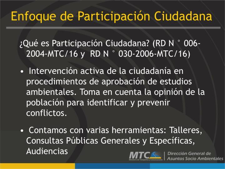 Enfoque de Participación Ciudadana