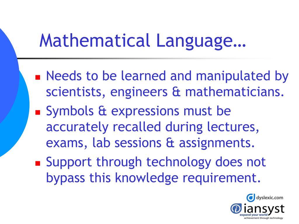Mathematical Language…