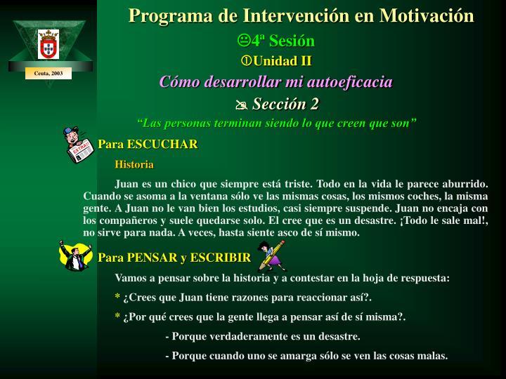 Programa de Intervención en Motivación