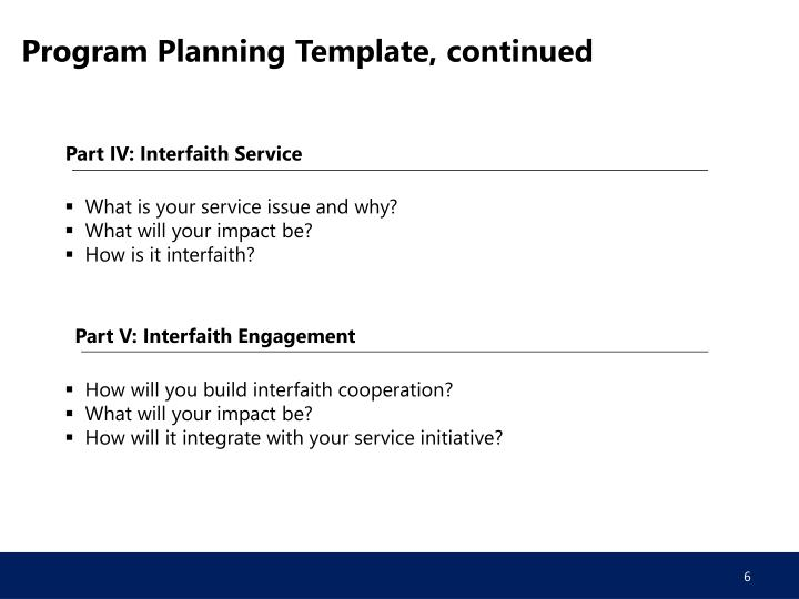 Program Planning Template, continued