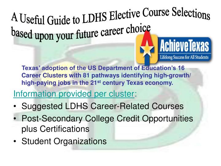 A Useful Guide to LDHS Elective Course Selections
