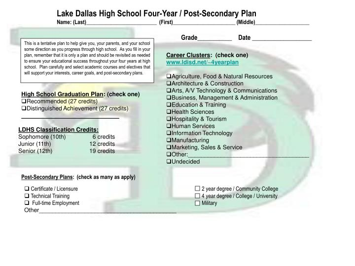 Lake Dallas High School Four-Year / Post-Secondary Plan