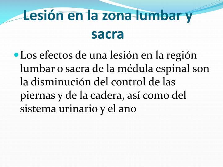 Lesión en la zona lumbar y sacra