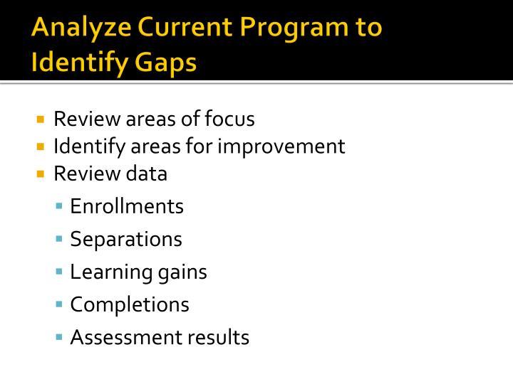 Analyze Current Program to Identify Gaps