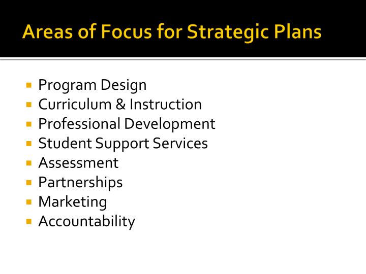 Areas of Focus for Strategic Plans
