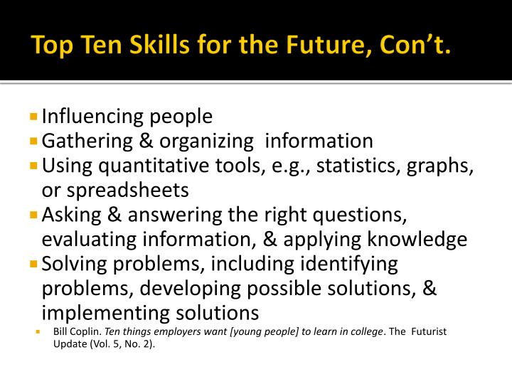 Top Ten Skills for the Future,